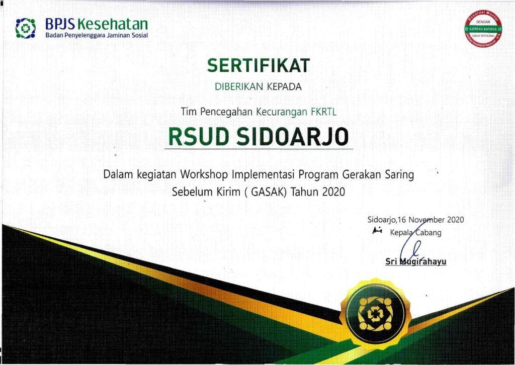 Penghargaan Tim Pencegahan Kecurangan FKRTL Dalam Kegiatan Workshop Implementasi Program Gerakan Saring Sebelum Kirim (GASAK) 2020
